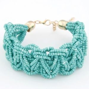 Jewelry - Teal Bohemian Style Woven Rice Bead Bracelet
